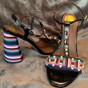 Eloquii Multi Color Candyland Striped Tstral Heels